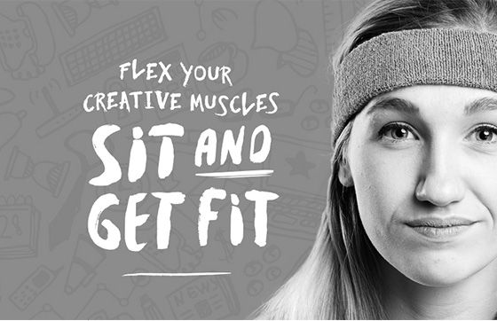 an image of a young woman with a headband for Gymnasium advertisement