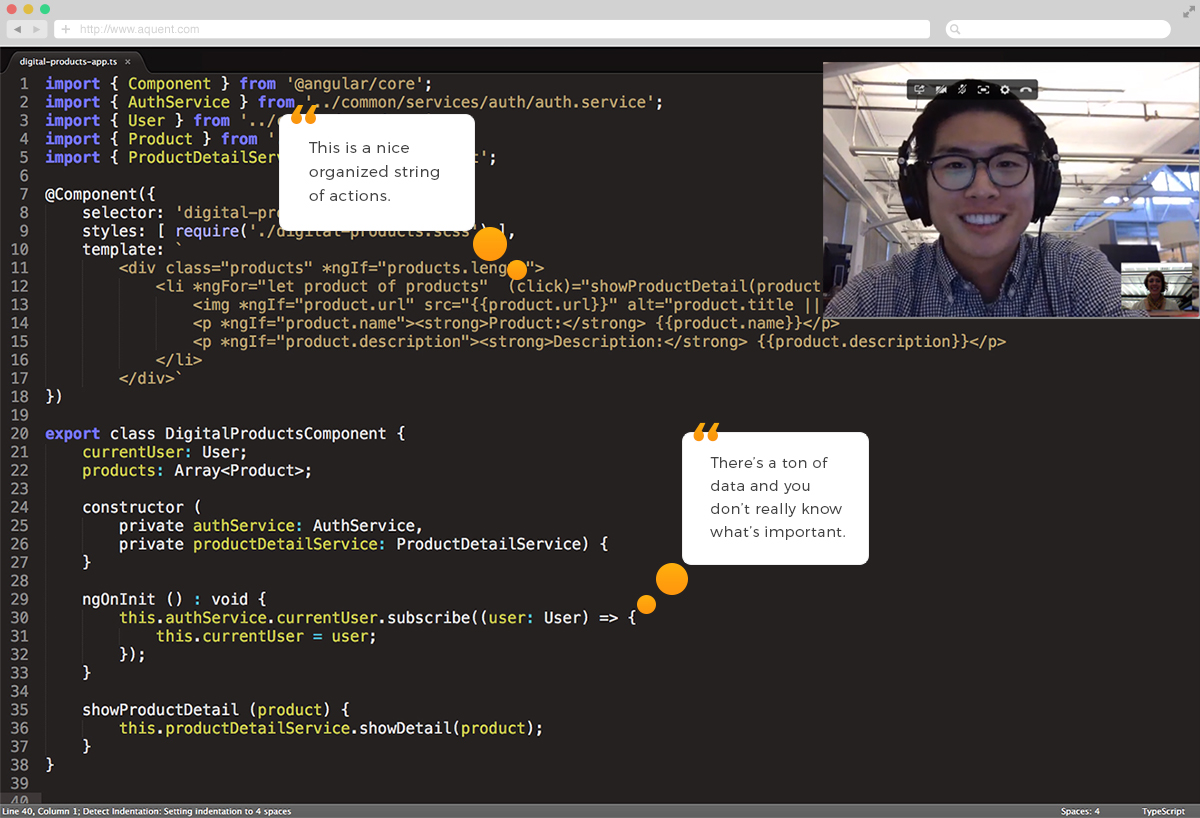 text editor code with a man on a videocall